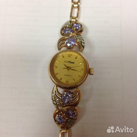Часы женские мактайм с золотым браслетом
