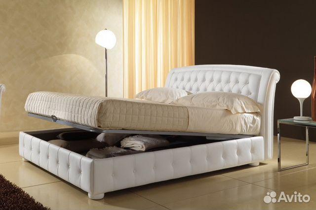 кровати двуспальные натуральная кожа эксклюзивные Festimaru