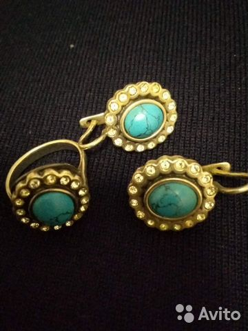 Серьги и кольцо бирюза с фианитами. Серебро 89284695912 купить 1