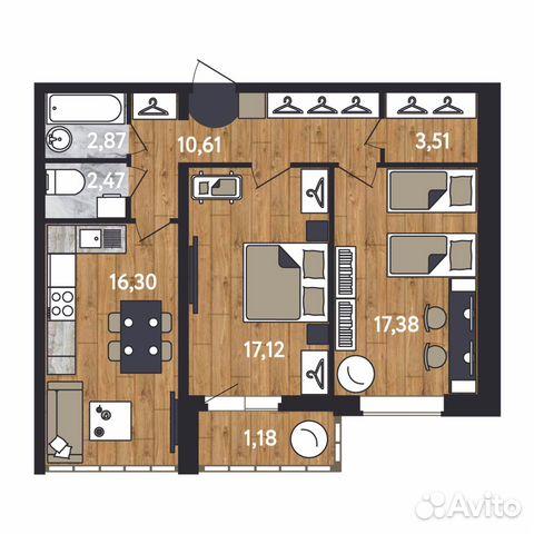 2-к квартира, 71.5 м², 9/17 эт. 88129214698 купить 3