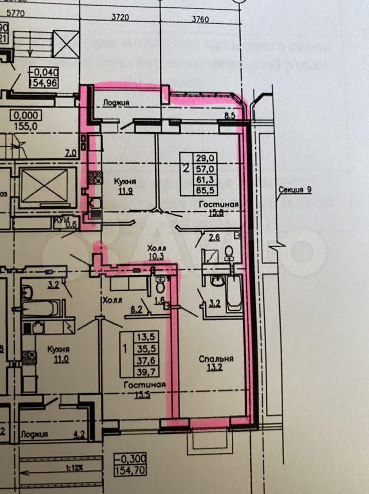 2-к квартира, 68.9 м², 1/17 эт.  89587926191 купить 1