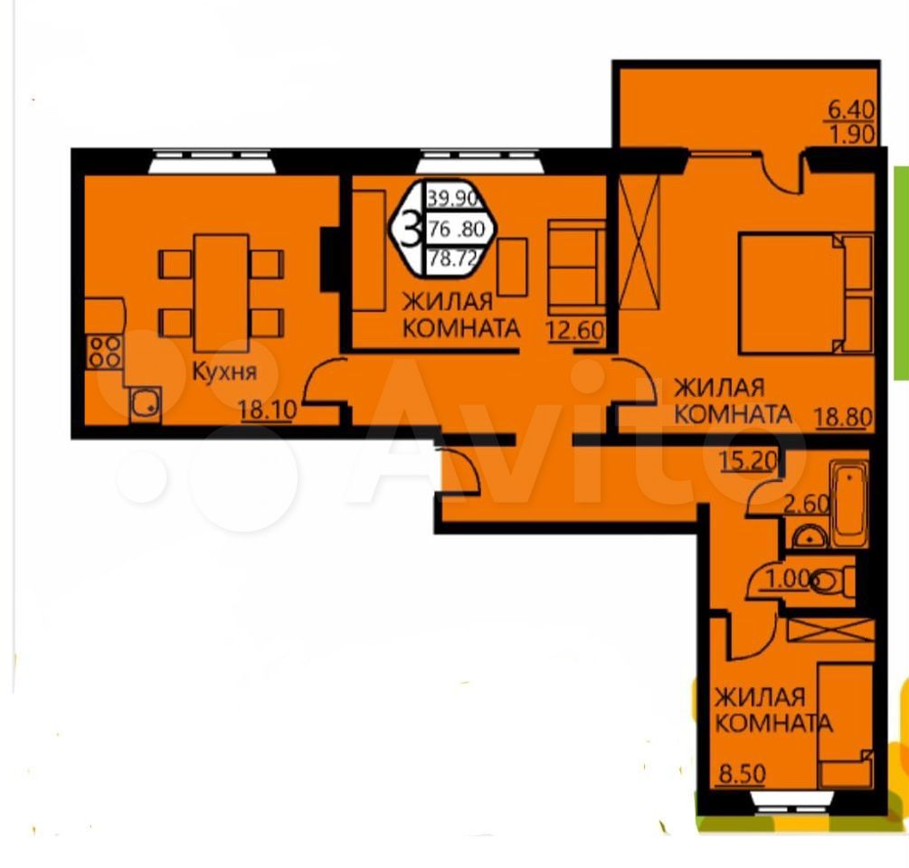 3-к квартира, 76 м², 4/10 эт.  89128811282 купить 8